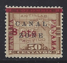 cz014p3. Canal Zone 14c PANAMA Ovpt in Rose Brown unused OG NH Very Fine. Post Office Fresh & Choice!