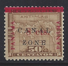 """cz018b3. Canal Zone 18a """"ZONE"""" in Antique type unused OG Very Fine. Scarce Error - only 175 issued!"""
