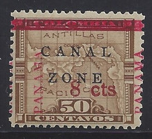 "cz019b3. Canal Zone 19a ""CANAL"" in Antique type Unused OG F-VF. Scarce Error - only 190 issued!"