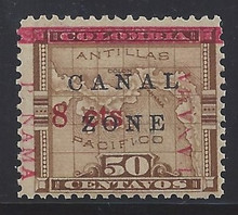 "cz019b6. Canal Zone 19d PANAMA reading down & up with ""P NAMA"" at left Unused OG LH F-VF+. Scarce Dual Variety - only 380 issued!"