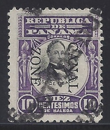 cz026v3. Canal Zone 26 variety with Bliss Provisional POSTAGE DUE precancel Used F-VF Thin spot. Very Scarce & Desirable variety!