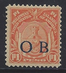 "piob251f3. Philippines 251 variety with Dark Blue Constabulary ""OB"" Overprint. Unused, OG, F-VF. Very Scarce Peso Value Dark Blue Bandholtz ""OB"" Overprint, only 70 issued!"