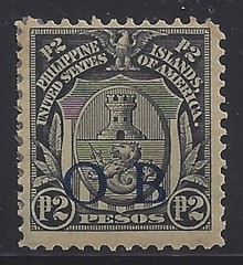 "piob252f3. Philippines 252 variety with Dark Blue Constabulary ""OB"" Overprint. Unused, OG, F-VF. Scarce Peso Value Dark Blue Bandholtz ""OB"" Overprint, only 150 issued!"