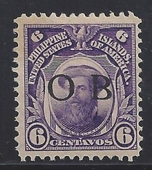 "piob263a3. Philippines 263 variety with Black Constabulary ""OB"" Overprint. Unused, Never Hinged, Fresh & F-VF+. Scarce ""Bandholtz OB"" Overprint Only 200 Issued!"