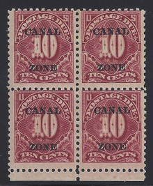 czj14c5. Canal Zone J14 Block of 4 Unused No Gum Fine+. Scarce Block!
