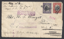 cz041e3. Canal Zone 41 & 39 tied on REGISTERED cover ANCON 9-4-1916 to U.S. Excellent Registered usage!