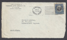 cz048h5. Canal Zone 48 cover front Ancon, 4-20-1920, to England. Very Scarce 5c Mt. Hope local overprint cover!