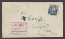 cz064f3. Canal Zone 64 REGISTERED cover CRISTOBAL 3-10-1924 to U.S. Excellent solo usage!