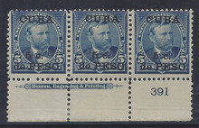 cb225e3. Cuba 225 unused OG Fine Plate # & Imprint strip of 3. Elusive Plate Strip!