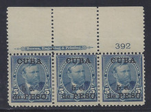 cb225e5. Cuba 225 unused OG F-VF Top Plate #392 & Imprint strip of 3. Attractive Plate Strip!
