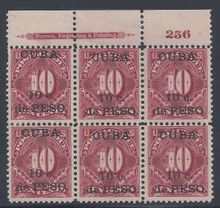 cbj4e3. Cuba 189910c on 10c Postage Due stamp J4 Top Plate Block of six. Unused 3 LH / 3 NH F-VF+. Very Scarce Block!