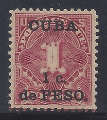cbj1c3. Cuba 1899 1c on 1c Postage Due stamp J1 Unused LH VF-XF Fresh & Choice!