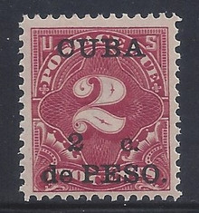 cbj2c3. Cuba 1899 2c on 2c Postage Due stamp J2 Unused Never Hinged Very Fine+ Post Office Fresh & Choice!