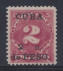cbj2c5. Cuba 1899 2c on 2c Postage Due stamp J2 Unused LH Fresh & Very Fine+. Attractive!