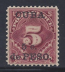 cbj3c3. Cuba 1899 5c on 5c Postage Due stamp J3 Unused OG Very Fine+. Well Centered!