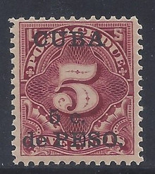 cbj3c5. Cuba 1899 5c on 5c Postage Due stamp J3 Unused OG F-VF+. Deep Color!