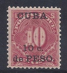 cbj4c3. Cuba 1899 10c on 10c Postage Due stamp J4  Unused NH Very Fine. Post Office Fresh! Scarce Thus!