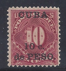 cbj4c5. Cuba 1899 10c on 10c Postage Due stamp J4 Unused LH F-VF. Fresh & Attractive!