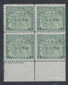 "cz009f5. Canal Zone 9var in blk/4, Dropped ""ON"" unused LH F-VF. Very Scarce Variety!"