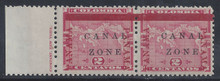 "cz011g7. Canal Zone 11 variety in pair unused LH Fresh & F-VF. Broken ""L"" subsequently replaced by Antique Letter. Scarce Position Piece!"