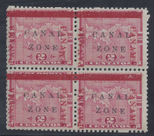 cz011f3. Canal Zone 11 varieties in block of 4 unused OG Very Fine. PANAWA at right & left PANAMA 16mm Long. Scarce Dual Error block!