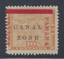 "cz013d3. Canal Zone 13 variety ""PAMANA"" reading down at right unused OG Very Fine. Scarce Error - only 200 issued!"