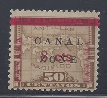 "cz019e3. Canal Zone 19 variety ""L"" of CANAL in Antique type Unused OG F-VF. Scarce error, only 190 issued."