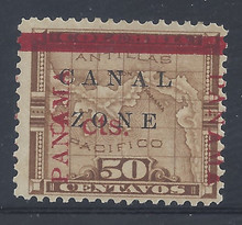 "cz020e3. Canal Zone 20 variety ""Z"" of ZONE in Antique type Unused LH F-VF+. Scarce error, only 196 issued."