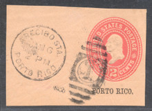 pru07. Puerto Rico U7 cut square used Arecibo Sta. 1-6-1900.