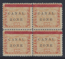 "cz013b2. Canal Zone 13a ""CANAL"" in Antique type in blk/4 unused OG VLH F-VF. Scarce Error - only 200 issued!"