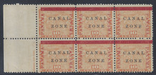 "cz013d5. Canal Zone varieties 13vars Antique ""Z"" of ZONE and Antique ""L"" of CANAL in blk/6 unused OG F-VF. Scarce Errors - only 100 of each issued!"