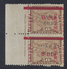 "cz014e5. Canal Zone 14 variety Spaced A-L and Tall Thin ""M"" in pair with ABNC Imprint at left unused OG F-VF. A Scarce Error - only 193 issued!"