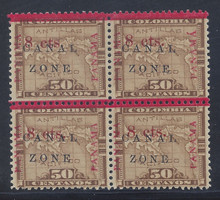 "cz018d3. Canal Zone 18a ""ZONE"" in Antique Type in block of 4 Unused OG F-VF. Scarce Error, Only 175 Issued!"