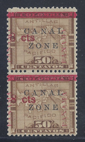 "cz019e2. Canal Zone 19 variety ""N"" of CANAL in Antique type in pair Unused OG F-VF. Scarce error, only 190 issued!"