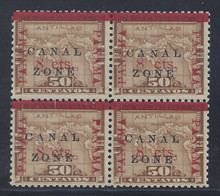 "cz020e2. Canal Zone 20 variety in block of 4 ""N"" of CANAL in Antique type Unused OG Very Fine. Scarce error, only 196 issued."