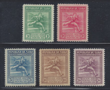 cb299e3. Cuba Republic 299-303 unused LH Fresh & VF-XF. Attractive Complete Set!