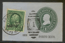 pru05cs. Puerto Rico U5 cut square used Arecibo Sta, 3-5-1900 with 210
