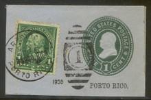 pru05cs. Puerto Rico U5 cut square used Arecibo Sta, 3-5-1900 with 210