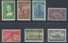 cb387c3. Cuba Republic 387-391, C36-C37 unused NH Fresh & Very Fine. Attractive Complete Set!