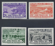 cbC018e3. Cuba Republic C18-C21 Imperf Varieties unused LH Fresh & VF-XF. Scarce & Attractive Airmail Set Complete!