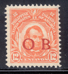 "piob266d3. Philippines 12c Lincoln 266 variety with Red Constabulary ""OB"" Overprint. Unused, NH, Fresh & F-VF+. Scarce Red ""Bandholtz OB"" Overprint Only 100 Issued!"