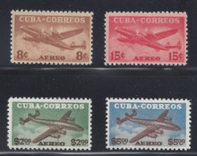 cbC075c3. Cuba Republic C75-C78 unused NH Fresh & VF-XF. Choice Example of this Elusive Airmail Set!
