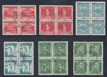 cbC024f5. Cuba Republic C24-C29 Blocks of four Used VF-XF. Scarce Airmail Set of Used Blocks!