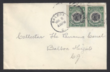 cz038h3. Canal Zone 38b pair from booklet pane on cover Balboa 7-5-1? local use. Nice use of scarce booklet pair on cover.