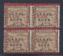 """cz020c3. Canal Zone 20b """"ZONE"""" in Antique type in block of 4 Unused OG F-VF. Scarce error, only 196 issued."""