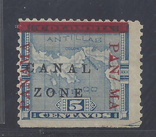 """cz012g7. Canal Zone 12 variety Missing """"A"""" and Spaced """"MA"""" @ right. Unused OG Fine NSE. Very Scarce Variety, only a few from some panes!"""
