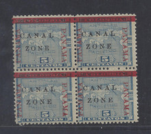 "cz012b5. Canal Zone 12b, 12var in block of 4, ""ZONE"" in Antique type and ""PAMANA"" reading up. Unused OG Very Fine. Scarce and Attractive multiple variety block!"