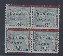 "cz012a4. Canal Zone 12a ""CANAL"" in Antique type in block of 4. Unused OG Fine. Scarce Variety, only 2750 issued!"