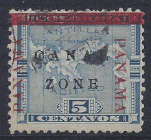 """cz012b7. Canal Zone 12b """"ZONE"""" in Antique type. Used F-VF. Scarce Variety, only 2950 issued!"""