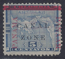 """cz012g4. Canal Zone 12 variety """"PANAAM"""" at right. Used F-VF. Very Scarce Variety, only a few Exist!"""